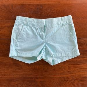 "J. Crew 3"" Seafoam Green chino shorts size 0"